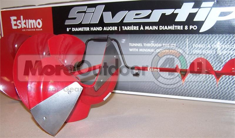 16500 New Eskimo Hand Ice Auger 8 Inch Curved Silvertip