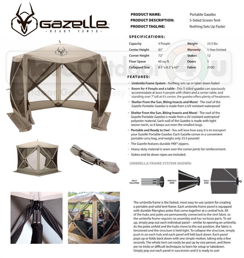 sc 1 st  MoreOutdoor4u & 25500 G5 Gazelle Portable 5 Sided Screened Gazebo Canopy Yard Tent
