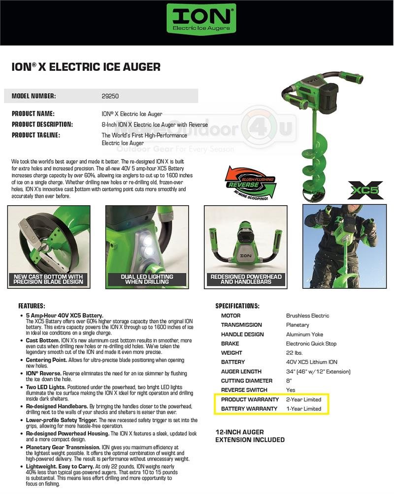 29250 New 8 Inch Ion X C5 Battery Powered Ice Auger