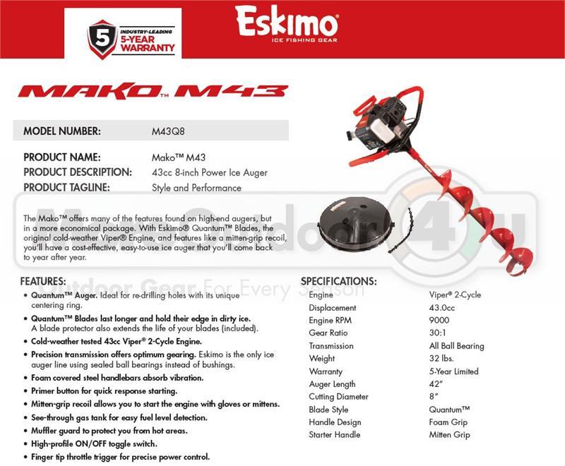 M43q8 New Eskimo Mako 43cc 8 Inch Shark Gas Powered Ice