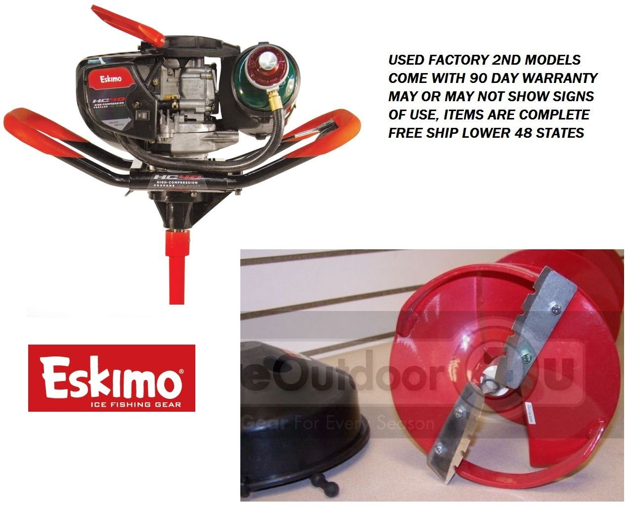 Details about hc40q8 eskimo hc40 propane ice auger with 8 quot ice drill